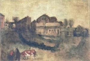 Malarz nieokreślony, XIX / XX w., U progu wioski