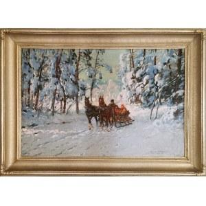 Leonard WINTEROWSKI (1872-1927), Saniami przez las, 1920