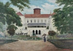 Antoni SZULCZYŃSKI (1877-1922), Zamek Arcybiskupów Gnieźnieńskich w Uniejowie od strony ogrodu, 1914
