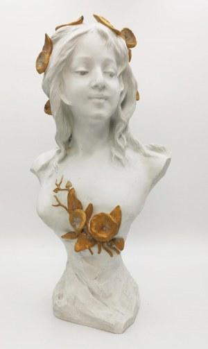 Edouard FORTINI (1862-?) ?, Dziewczyna z kwiatami we włosach - rzeźba secesyjna