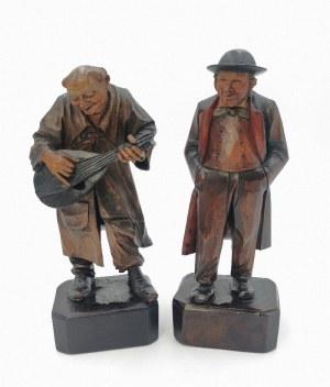 Rzeźbiarz nieokreślony, XIX / XX w., Para figur: grajek i słuchacz