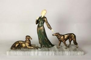 Kobieta z chartami - rzeźba art déco
