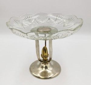 NORBLIN & Co (firma czynna 1819-1944), Patera art déco ze szklanym talerzem