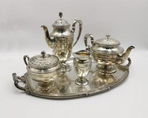 SAGLIER Freres ( firma czynna 1842-1948), Komplet  do kawy i herbaty z tacą