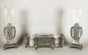 WÜRTTEMBERGISCHE METALLWARENFABRIK (czynna od 1880), Garnitur secesyjny - żardiniera i para wazonów
