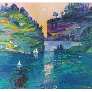 Jan SZANCENBACH (1928-1998), Pejzaż z Norwegii z łódkami, 1988