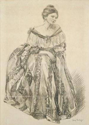 Józef MEHOFFER (1869-1946), Portret żony - Jadwigi Mehofferowej (1915-1923)