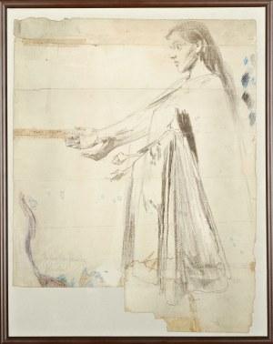 Józef MEHOFFER (1869-1946), Szkic postaci Matki Bożej do polichromii tryforiów w kościele Mariackim w Krakowie (1892-1895)