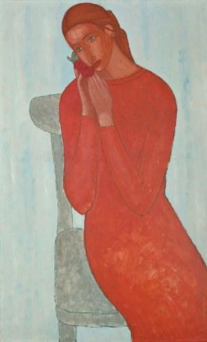Roman ZAKRZEWSKI (1955-2014), Portret kobiety z różą (1990)