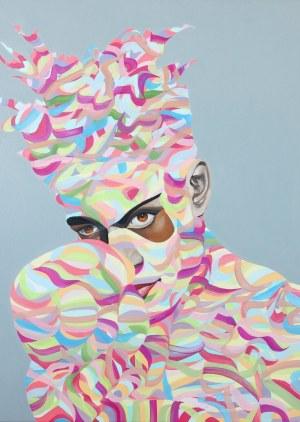 Paweł Dąbrowski (ur. 1974), Basquiat na pastelowej tęczy, 2020