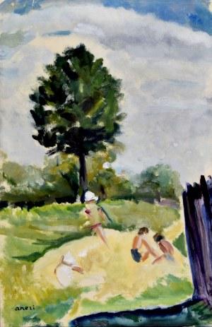 Aneri Irena Weissowa (1888-1981), Dzieci w ogrodzie [Pejzaż]