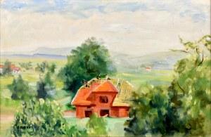 Aneri Irena Weissowa (1888-1981), Kalwaria - pejzaż z budowanym domem, ok. 1970