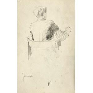 Stanisław Kaczor Batowski (1866-1946), Mężczyzna siedzący w fotelu oraz szkice głów - Stanisław Janowski przy pracy