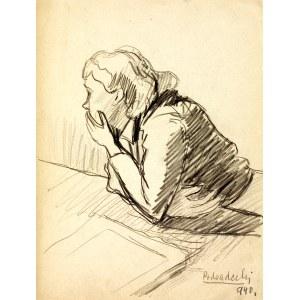 Kazimierz Podsadecki (1904 - 1970), Kobieta wsparta o blat stołu, 1940
