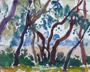 Kazimierz Podsadecki (1904 - 1970), Pejzaż z drzewami, 1969