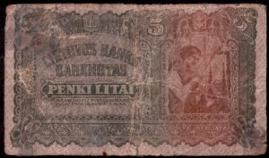 Lithuania 5 Litai 1922 Banknote Kaunas 16 novembre 1922. № 662819. P...