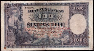 Lithuania 100 Litu 1928 Banknote Kaunas  31 March 1928. № A 042001. P...