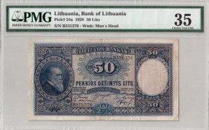 Lithuania 50 Litu 1928 Banknote Kaunas  31 March 1928. № B 531376. P#24a...