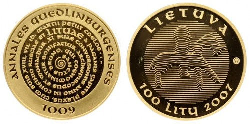 Lithuania 100 Litų 2007 LMK Use of the Name Lithuania Millenium. Averse: Linear National Arms...