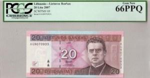 Lithuania 20 Litu 2007 Banknote. № AG9070933. P#69...