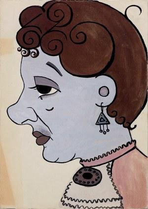 """Lucyna Legut (1926-2011), Autoportret - Lucyna Legut jako Hesia w sztuce """"Pani Dulska na rozdrożu"""" Anatola Sterna, Polska, Toruń, 1952"""