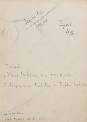 """Lucyna Legut (1926-2011), Zofia Molska jako Felicjanowa Dulska w sztuce """"Pani Dulska na rozdrożu"""" Anatolia Sterna, Polska, Toruń, 1952"""