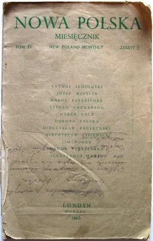 """NOWA POLSKA. Miesięcznik. Londyn, marzec 1945. Tom IV. Zeszyt 3. Published by """"Nowa Polska"""""""