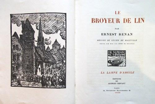 RENAN ERNEST. Le Broyeur de Lin. Par [...]. Dessins de Lucien de Maleville