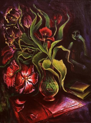 Katarzyna Tchórz (ur. 1986), Autoportret z kwiatami, z cyklu: ''Czarna wiosna, 2020