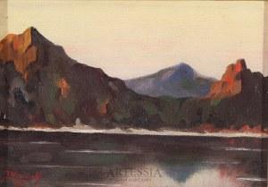 J. Nowiak, 1 poł. XX w., Pejzaż górski z jeziorem, 1933