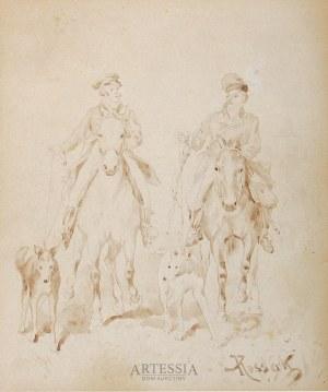 Juliusz Kossak (1824-1899), Dwaj jeźdźcy z chartami, 4 ćw. XIX w.