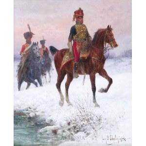 Jan Chełmiński (1851-1925), Huzarzy napoleońscy