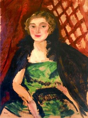 Aneri Irena Weissowa (1888-1981), Portret kobiety w zielonej sukni, ok. 1912