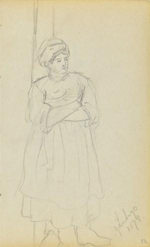 Jacek Malczewski (1854-1929), Szkic wiejskiej kobiety stojącej z założonymi rękoma (dat.:29 Lutego 1872)