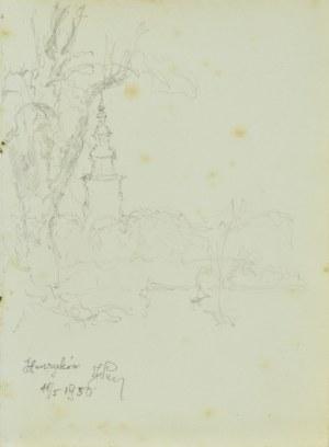 Józef Pieniążek (1888-1953), Widok na wieżę opactwa cysterskiego w Henrykowie, 1950