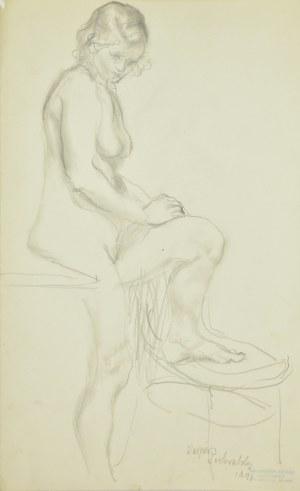 Kasper Pochwalski (1899-1971), Akt stojącej kobiety z wspartą nogą na krześle
