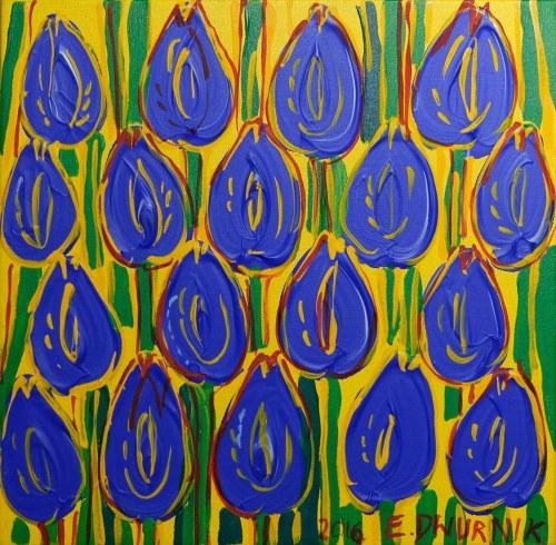 Edward Dwurnik, Granatowe tulipany, 2016