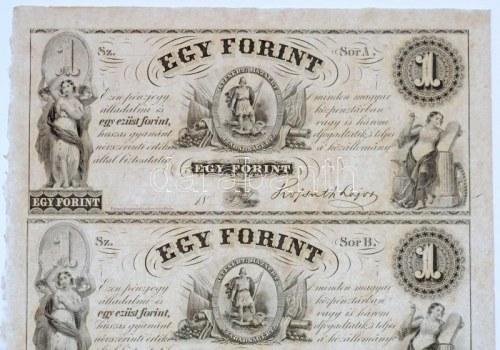 1852. 1Ft Kossuth bankó kitöltetlen A,B,C,D négyes ívben T:I,I- / Hungary 1852. 1 Forint blokk of 4 (A,B,C,D...