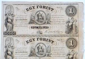 1852. 1Ft Kossuth bankó kitöltetlen E,F,G,H négyes ívben T:I,I- / Hungary 1852. 1 Forint blokk of 4 (E,F,G,H...
