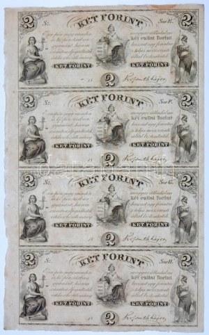 1852. 2Ft Kossuth bankó kitöltetlen E,F,G,H négyes ívben T:I- / Hungary 1852. 2 Forint blokk of 4 (E,F,G,H...