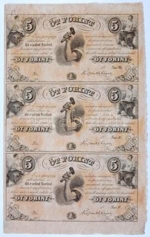 1852. 5Ft Kossuth bankó kitöltetlen D,E,F hármas ívben T:I- / Hungary 1852. 5 Forint blokk of 3 (D,E,F...