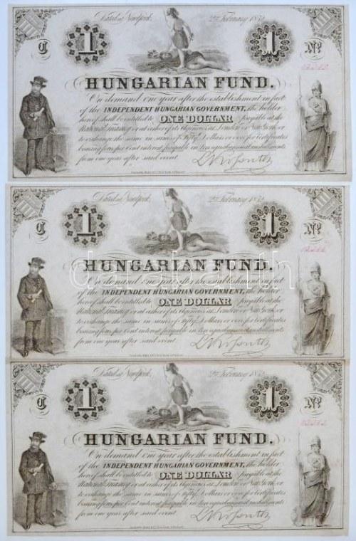 1852. 1$ B Kossuth bankó piros kézi sorszámozással, nyomdai papírránccal (3x) sorszámkövetők 23343-23345 T:I,I- ...