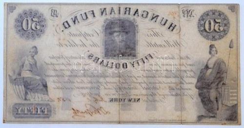 1852. 50$ Kossuth bankó piros kézi 417 sorszámozással, Kossuth Lajos saját kezű aláírásával, B sorozat T...