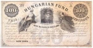 1852. 100$ Kossuth bankó piros tintás kézi sorszám és dátum, Kossuth Lajos saját kezű aláírásával...