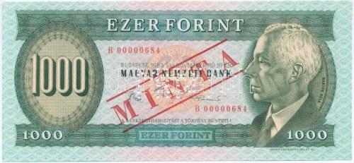 1983. november 10. 1000Ft B 00000684 sorszámmal, piros MINTA felülnyomással és perforációval T:I / Hungary 10.11...