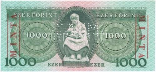 1993. 1000Ft D 00000208 sorszámmal, piros MINTA felülnyomással és perforációval T:I / Hungary 1993...
