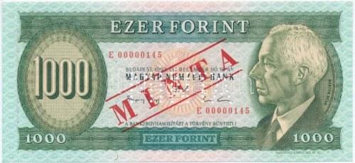 1993. 1000Ft E 00000145 sorszámmal, piros MINTA felülnyomással és perforációval T:I / Hungary 1993...