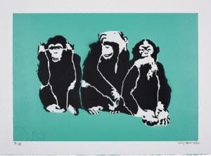 Banksy (Ur.1974), 3 wise monkeys, 2019