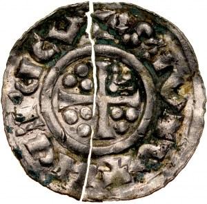 Bolesław Chrobry 1003-1004, Denar, Av.: Krzyż, w 3 sferach po 3 kropki, napis. Rv.: Centralnie ornament, napis. RRR.