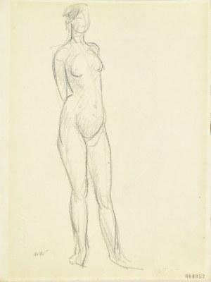 Wojciech Weiss (1875-1950), Akt stojącej kobiety z rękoma zaplecionymi z tyłu, ok. 1917